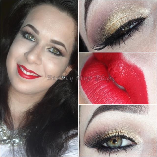 tutorial maquiagem dourada brilho delineador batom vermelho beauty stop blog bruna reis